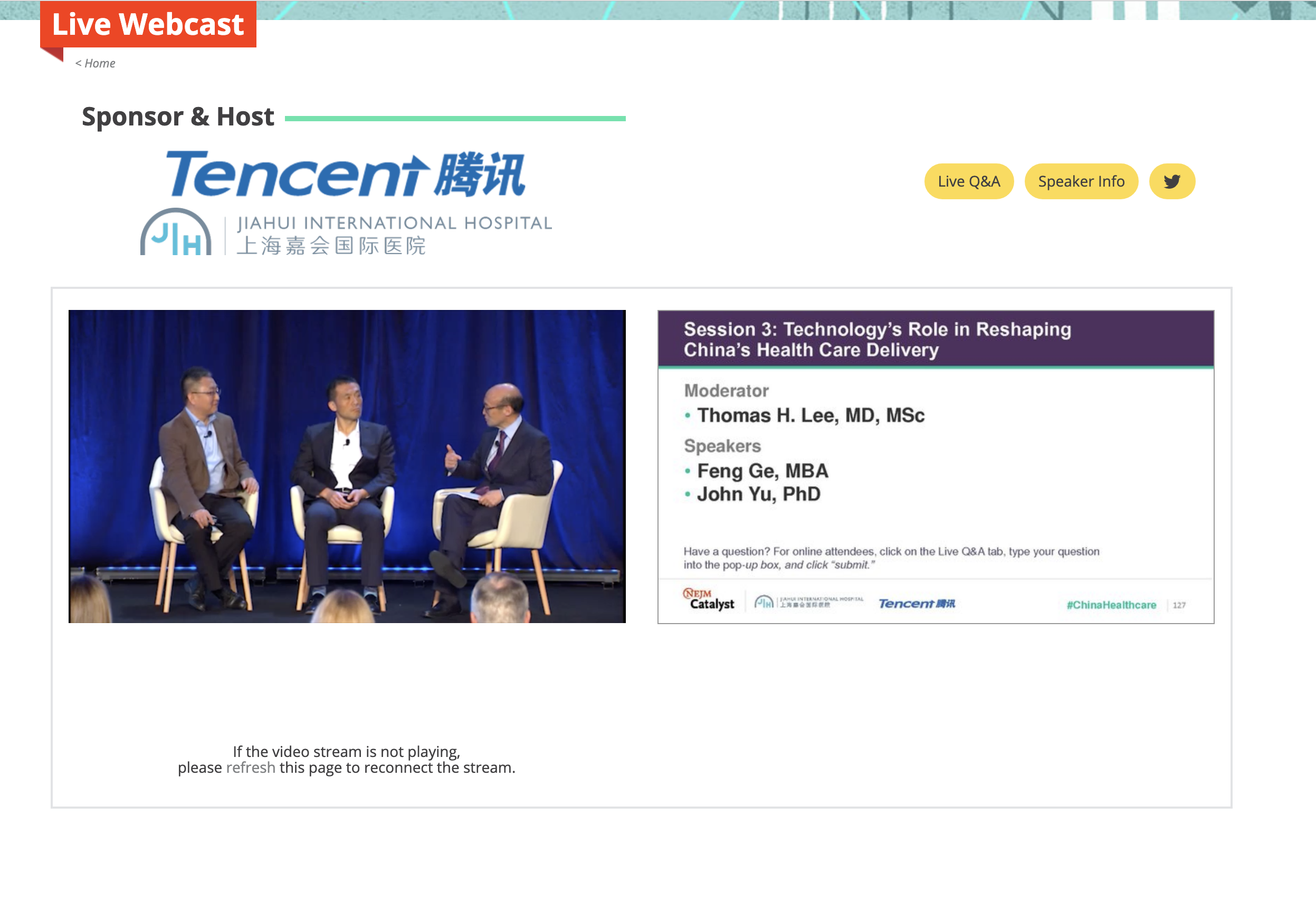 Shanghai, China.  Live event streaming in China for New England Journal of Medicine