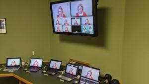 Webcasting hybrid virtual conferences